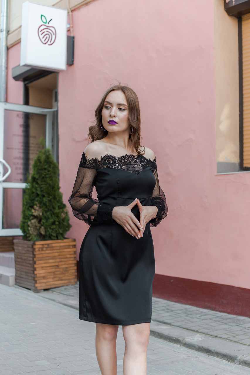 e871956336143c Чорне плаття з шовку та мережива:за доступною ціною від