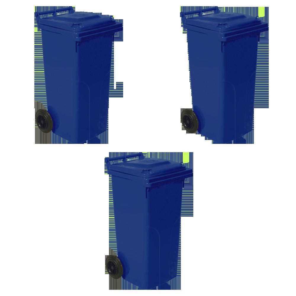Набор мусорных контейнеров Алеана 540 х 950 х 480 мм на колесах с ручкой 120 л Синий