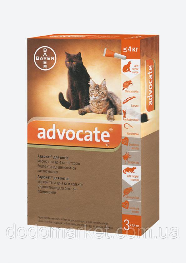 Advocate Bayer Адвокат краплі для котів до 4 кг 3 піпетки