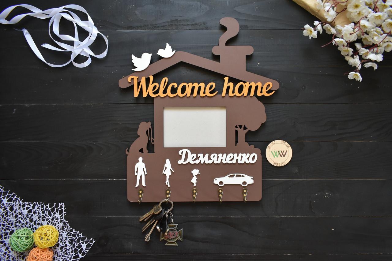 Ключница домиком из дерева семейная с фамилией, собакой и фоторамкой, ключница в виде домика. Welcome Home