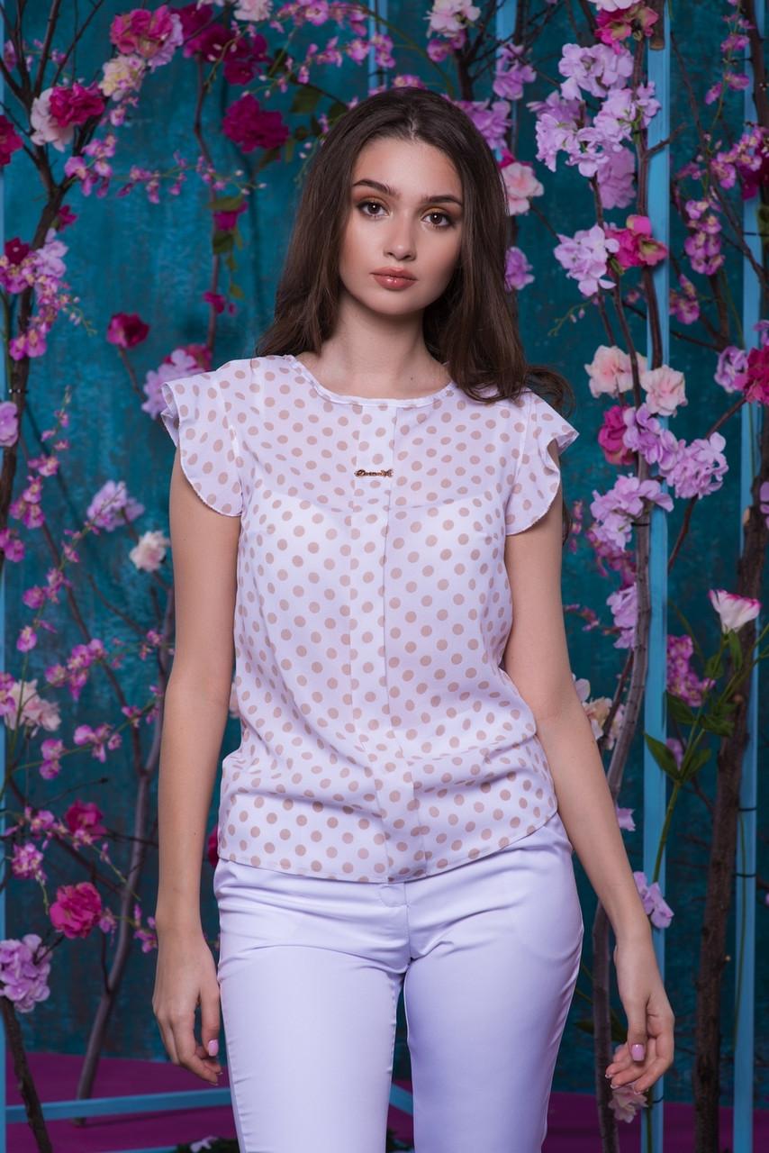 Блуза горошек с рюшами