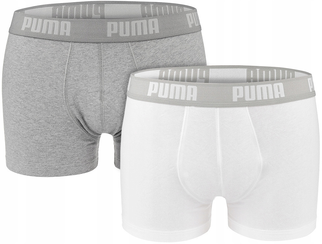 Мужские трусы-боксеры Puma Basic (ОРИГИНАЛ) White/Grey (Размер XL) 2 шт.