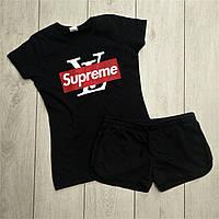 Женский спортивный костюм комплект модные шорты и футболка в стиле Supreme Черный