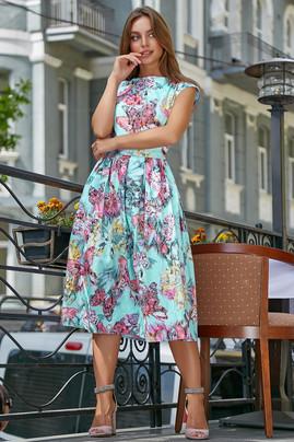 Красивое  летнее  платье 3574 голубой