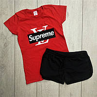 Женский спортивный костюм комплект модные шорты и футболка в стиле Supreme Красная и черный, фото 1