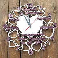 Часы настенные, часы подарок подруге, часы сердца