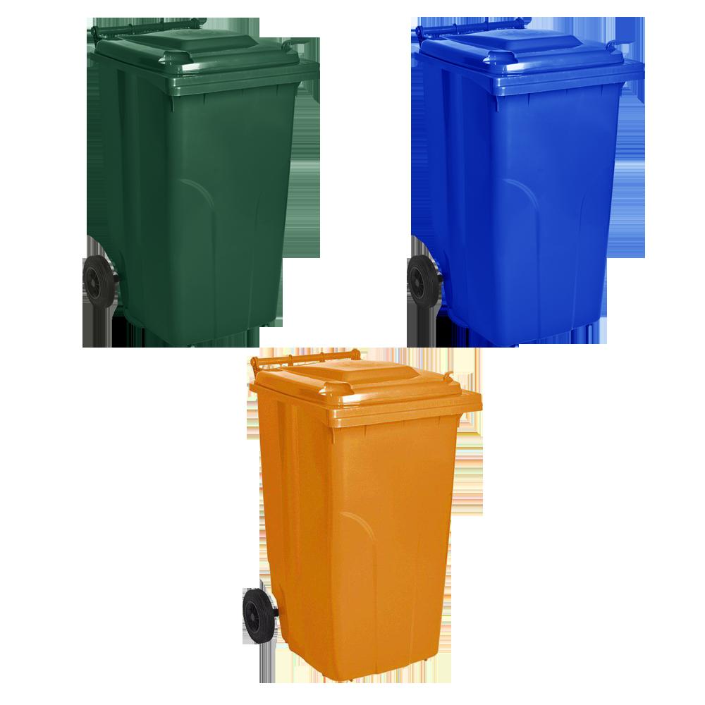 Набор мусорных контейнеров Алеана 720 х 1050 х 590 мм на колесах с ручкой 240 л Разноцветный (240зос)