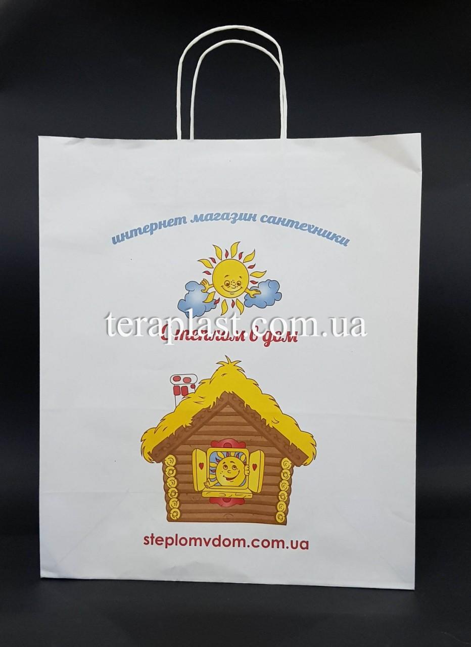 Пакет бумажный белый с печатью 320х150х380 4+0