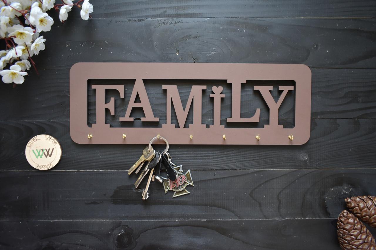 Деревянная ключница FAMILY, вешалка для ключей, ключница в прихожую.