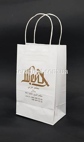 Пакет бумажный белый 150*80*240 с печатью 1+0, фото 2