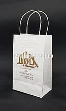 Пакет бумажный белый 150*80*240 с печатью 1+0