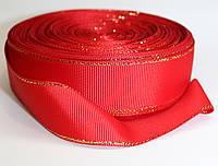 Лента репсовая с люрексом. Цвет - красный, ширина - 2,5см, длина - 23м