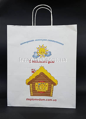 Пакет бумажный белый с печатью 320х150х380 4+0, фото 2