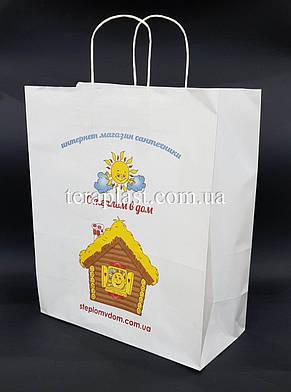 Пакет бумажный белый с печатью 320х150х380 4+0, фото 3