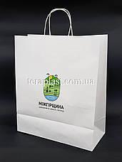 Пакет бумажный белый с печатью 320х150х300 4+0, фото 2