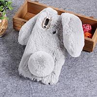 Силиконовый 3D чехол Fur Case на Huawei P Smart Plus, Bunny, серый