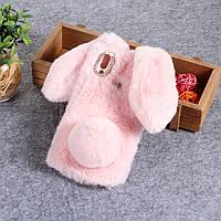Силиконовый 3D чехол Fur Case на Huawei P Smart Plus, Bunny, розовый