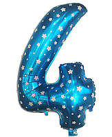 Шар фольгированный цифра 4 голубой со звездочками 70 см