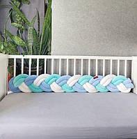 Бортик - коса в детскую кроватку в три двойные пряди.