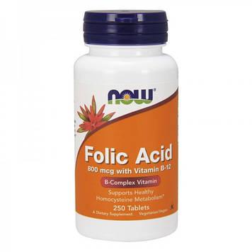 Фолиевая кислота Folic Acid 800 mсg (250 tabs) NOW