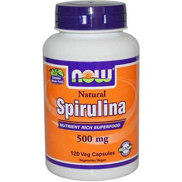 Natural Spirulina 500 mg (120 veg caps) NOW