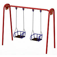 Детские качели двойные большие на цепях для улицы