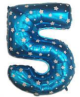 Шар фольгированный цифра 5 голубой со звездочками 70 см