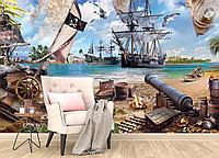 Глянцевые фотообои детские корабли разные текстуры , индивидуальный размер