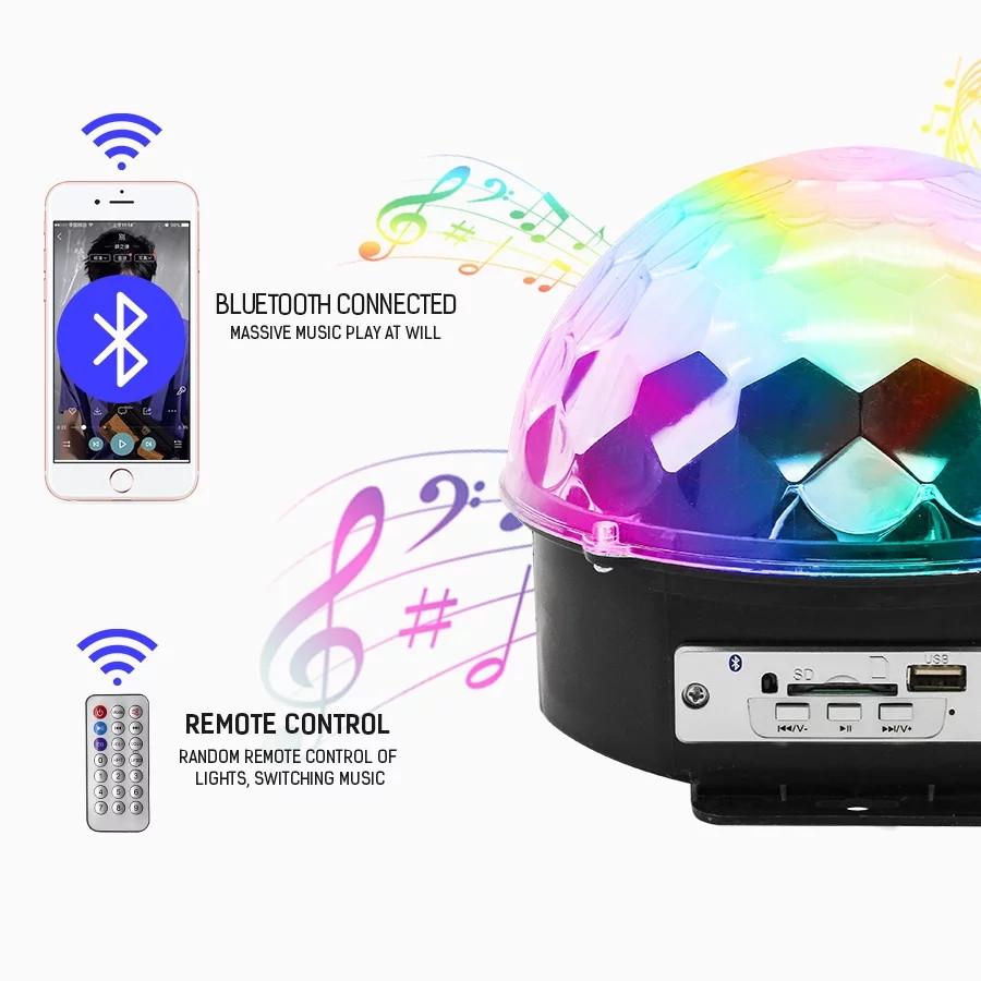 Светомузыка диско шар LED Ball Light с bluetooth MP3 +пульт+флешка