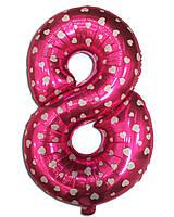 Шар фольгированный цифра 8 розовый с сердечками 70 см