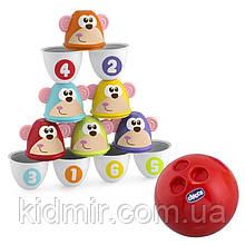 Боулинг детский Страйк обезьян Цветные кегли Fit&Fun Chicco 05228