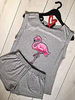 Пижама - розовый фламинго, майка+шорты вискоза