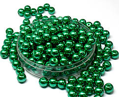 Жемчуг стеклянный  Ø8мм пачка - примерно 75 шт, цвет -  зеленый глянцевый