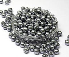 Жемчуг стеклянный  Ø8мм пачка - примерно 75 шт, цвет -  серебряный глянцевый