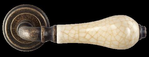 Ручка для дверей на розетці Z-1222 AMAB антична матова стара бронза