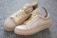 Женские кроссовки Italy Beige брошь жемчуг     39