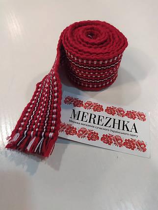 Тканный пояс крайка к вышиванке красный, фото 2