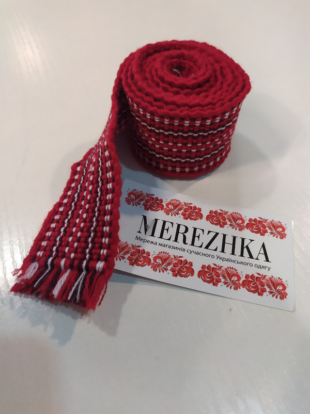 Тканный пояс крайка к вышиванке красный