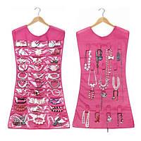 🔝 Органайзер для бижутерии и аксессуаров Hanging Jewelry  платье органайзер для украшений Розовое   🎁%🚚