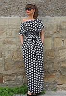 Платье в пол черное летнее горохи
