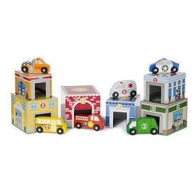 """Деревянный набор блоков-кубов """"Здания и транспорт"""" для мальчика с 2 лет ТМ Melissa & Doug MD13576"""