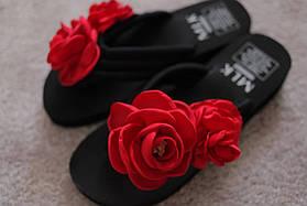 Женские вьетнамки черные с красными розами цветы Black Испания 36-37
