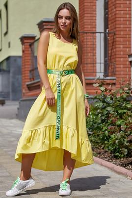 Красивое летнее платье-сарафан 3571желтый