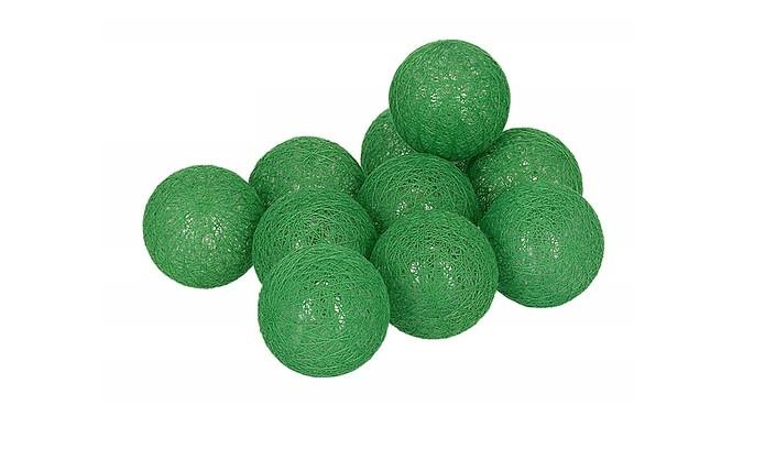 Гирлянды Cotton Balls Green Тайские Шарики 10led, диам 6см, длина 180см на батарейках АА