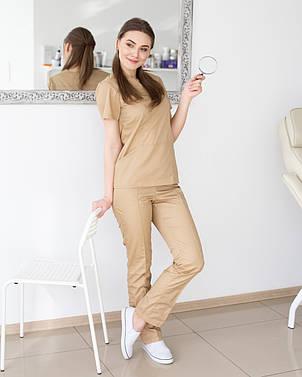 Медичний котонові жіночий костюм Топаз пісок, фото 2