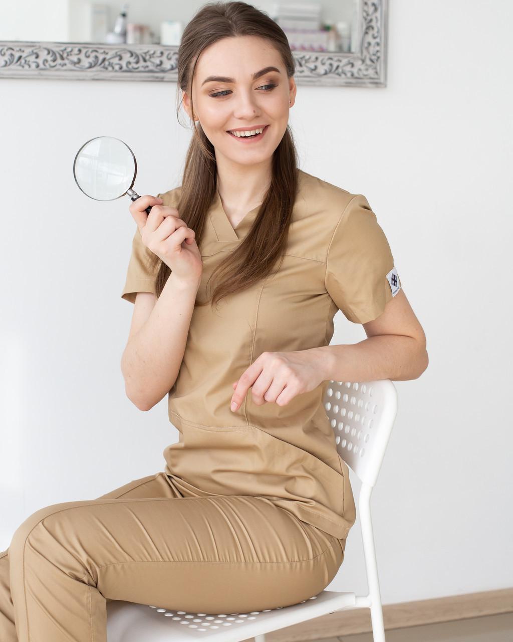 Медицинский котоновый женский костюм Топаз песок