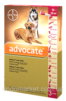 Advocate Bayer Адвокат капли для собак весом от 10 до 25 кг 3 пипетки