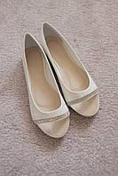 Женские балетки белые легкие прозрачный носок стразы 37-40  хит новинка!