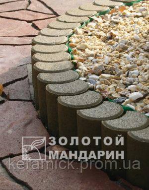 Тортуарная плитка Золотой мандарин Поребрик фигурный клуглый(8см)