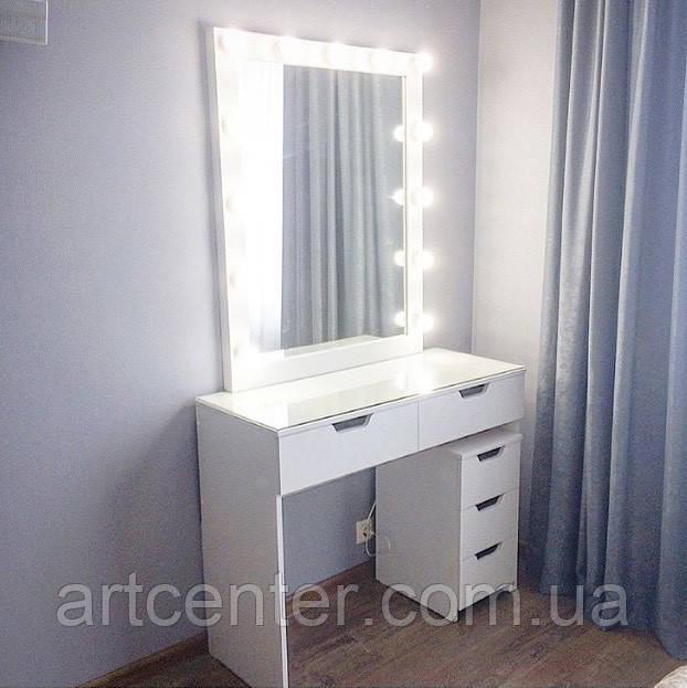 Комплект для визажиста, зеркало с подсветкой, стол для макияжа, тумба на 3 ящика